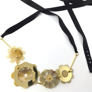 MARNI Horn and resin flower necklace